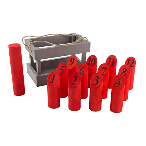 Wooden Throwing Game-Complete Set, 12 Numbered Pins, Throwing Dowel, Carrying Crate-Outdoor Lawn Games For Adults and Kids (Red/Gray) by Hey!Play!