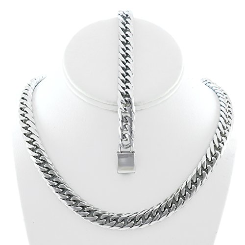 tainless Steel 12mm Thick Miami Cuban Link Chain Necklace & Bracelet Set 24'' (24' Necklace Silver Set)