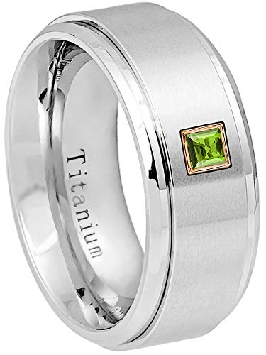 0.10ctw Solitaire Princess Cut Peridot Titanium Ring - 9MM Brushed Finish Stepped Edge Titanium Wedding Band - August Birthstone Ring - s9 ()