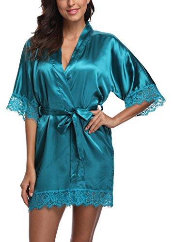 Laurel Snow Short Satin Kimono Robes Women Pure Color Bridemaids Bath Robe With Lace Trim,Green (Wholesale Satin Robes)
