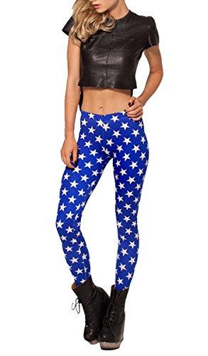 QWQHI Ajclub Women's Fashion Digital Print Blue Stars Elastic Tights Leggings (Wonder Woman Running Outfit)