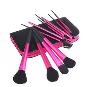 Professional 11 PCS Cosmetics Makeup Brushes Set Tools with Zipper Bag Black
