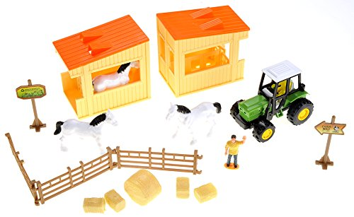 PowerTRC Horse Barn Farming Playset with Tractor