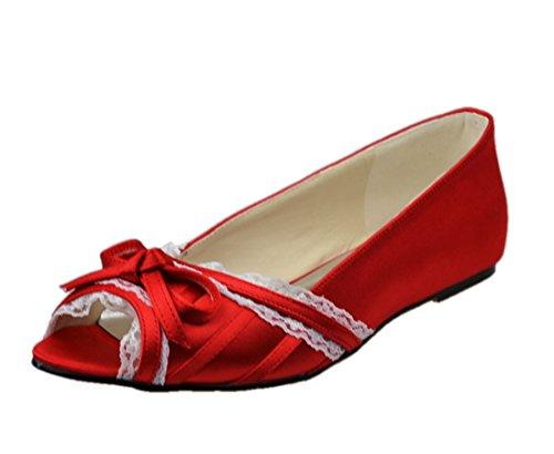 Minishion Femmes Bout Ouvert Satin Soirée Soirée Danse Mariée Mariage Plat Ballet Rouge-0.5cm Talon