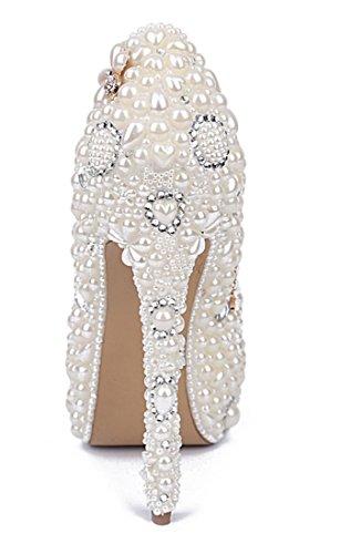 Flowers TDA Dress Wedding Evening Women's Studded Party Rhinestones Platform Pumps White Stiletto Pearl wwrxABqEF