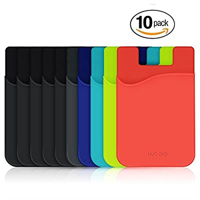 Cell Phone Wallet, HUO ZAO Silicone Credit Card Id Holder with Adhesive Stick-on fits Apple iPhone iPad Samsung Galaxy Android Smartphones, Table, Refrigerator, Door - 10 Pack