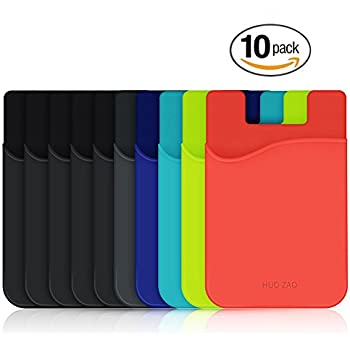 HUO ZAO cc009 Cell Phone Wallet, Silicone Credit Card Id Holder with Adhesive Stick-on Fits Apple iPhone iPad Samsung Galaxy Android Smartphones, Table, Refrigerator, Door - Mixed Colors - 10 Piece
