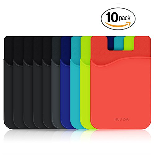 HUO ZAO cc009 Cell Phone Wallet, Silicone Credit Card Id Holder with Adhesive Stick-on Fits Apple iPhone iPad Samsung Galaxy Android Smartphones, Table, Refrigerator, Door - Mixed Colors - 10 Piece (Case Phone Plastic Cell)