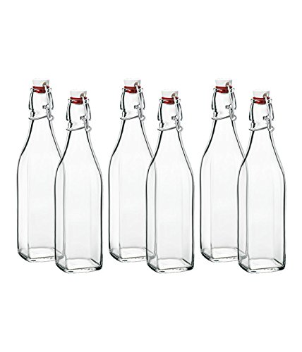 Klikel Conway Square Glass Water Bottles - Swing Top Clear Glass Multi-purpose Bottles 1 Liter (33.8oz), Set of 6 (Glass Liter One)