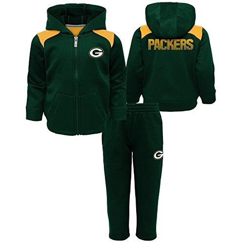 NFL Green Bay Packers Kids Play Action Performance Fleece Set, Hunter Green, Kids Large(7)
