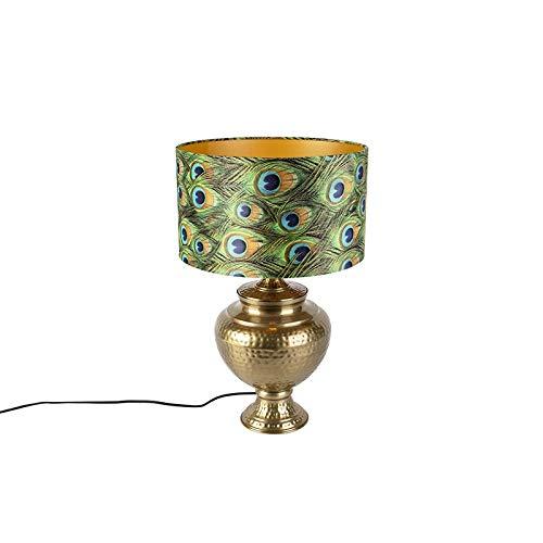 QAZQA Retro/Vintage Lámpara de mesa vintage de latón con pantalla ...