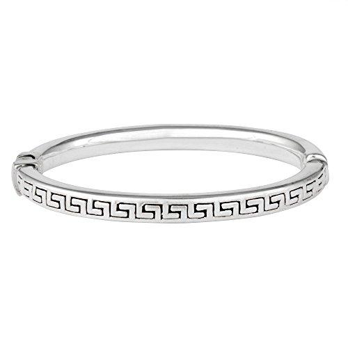 - Silverly Women's .925 Sterling Silver Polished Greek Key Pattern Hinged Bangle Cuff Bracelet