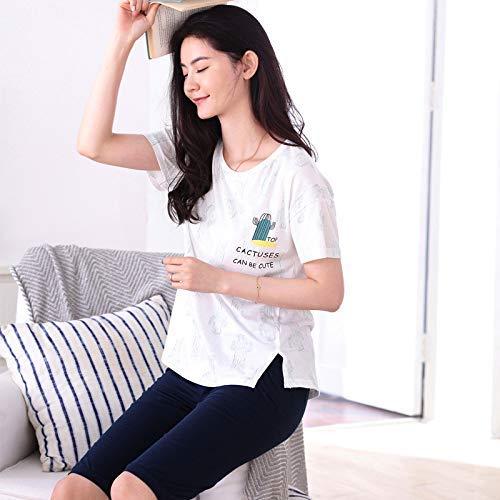 FERFERFERWON Nachthemd Sommer Kurzarm-fünf-Hosen-Baumwolle kann außerhalb des Mädchens Cartoon Pyjamas lässig Komfort XL Home-Service (Farbe  Weiß, Größe  XXL) getragen Werden