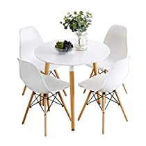 Nicemoods Kitchen Dining Table White Round Coffee Table Modern Leisure Wooden Tea Table,Home Easy-Assembly Office Conference Pedestal Desk 31.5x31.5 inches & Set of 4 Dining Chairs Round White +White
