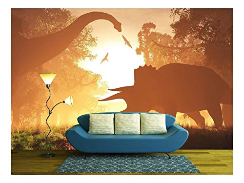 wall26 - Dinosaurs in Prehistoric Jungle in the Sunset Sunrise 3d Artwork - Removable Wall Mural | Self-adhesive Large Wallpaper - 100x144 (Dinosaur Wallpaper Mural)