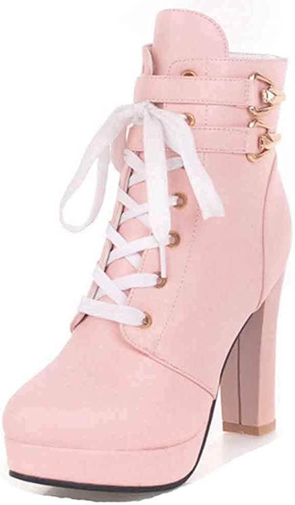 Unm Womens Round Toe Ankle Boots with Zipper Lace Up Platform Buckle Strap Combat High Block Heel Booties