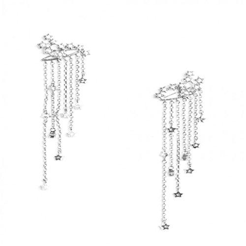 Celendi_ Jewerly New Shooting Star Rhinestone Long Tassels Drop Hook Dangle Earrings Gold Silver
