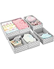 mDesign Soft Fabric Dresser Drawer and Closet Storage Organizer for Child/Kids Room, Nursery - Divided 2 Compartment Organizer - Fun Polka Dot Print - Set of 4, 2 Sizes - Gray with White Dots