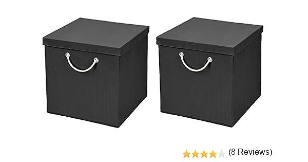 Caja de almacenaje, 30 x 30 x 30 cm, con tapa, Negro , 2 unidades ...
