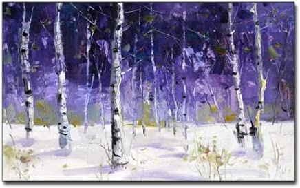 BO LAI DE 100% Hand-Painted Oil Painting Modern Purple Abstract Canvas Art Wall Hanging Artwork Pure Handmade Large Size Tree Forest Oil Painting for Hotel Wall Decor,100cmx240cm
