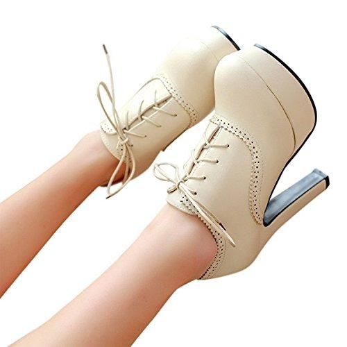 Lace Up Shoes Casual Platform Autumn High Spring Heels Oxford Beige Pumps Women's SxIXn7