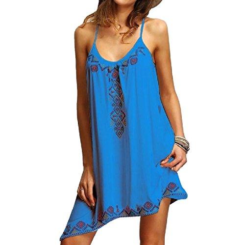 Coolred Floral Style Blue Women Ethnic Sapphire Dresses Spaghetti Strap Print Mini ZWZfr4qwR