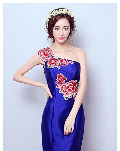 Emily chinesisches Königsblau Brokat Art Stickerei Pfingstrosen Beauty Kleid Schulter ein 7Sf7dq