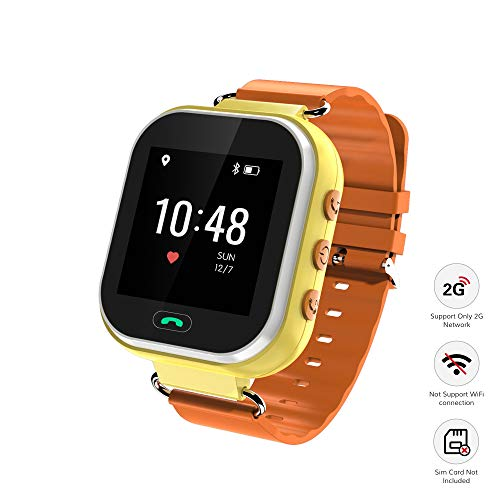 Wonbo Kids Smart Watch, GPS Phone Watch with SIM Slot SOS Call, Real-time Location Finder,Remote Monitor,Watch Remove Alert, Supports Android & iOS (Orange)