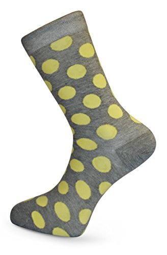 Gris y Amarillo De lunares Calcetines Hombre by Frederick Thomas of London divertido, funky, coloridos, extravagantes: Amazon.es: Ropa y accesorios