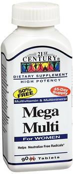 21st Century Mega Multi For Women - 90 Tablets, Pack of 3