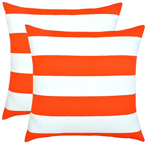 Premium Cotton Throw Pillow Covers Hypoallergenic Anti-Microbial Decorative Cushion Cases Square Slipcovers with Hidden Zipper for Couch Sofa Bed (16 x 16 Inches; Orange) ()