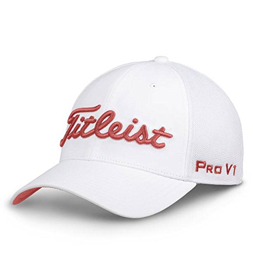 - Titleist Tour Sports Mesh White Collection Golf Cap 2018 White/Island Red Medium/Large