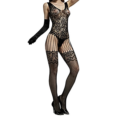 Lingerie For Women For Sex, One Piece Halter Mesh Fishnet Floral Crotchless Stockings Teddy Nightie Bodystockings Babydoll Lace Bodysuits Nightwear On Sale Clearance (Black)
