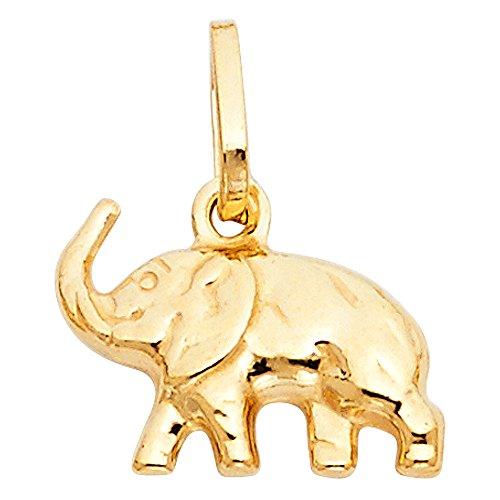 14k Yellow Gold Elephant Charm Pendant (Gold Pendant Charm Elephant)