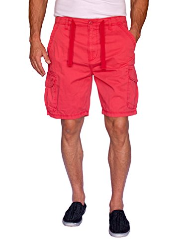 (Short Fin 100% Cotton Cargo Shorts with A Drawstring (Coral, Size 40, 8013))