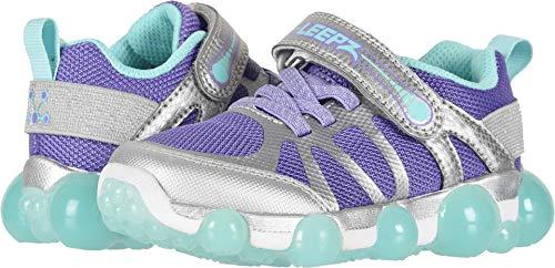 Stride Rite Girls' Leepz 3.0 Lighted Sneaker, Silver/Purple, 1 M US Little Kid