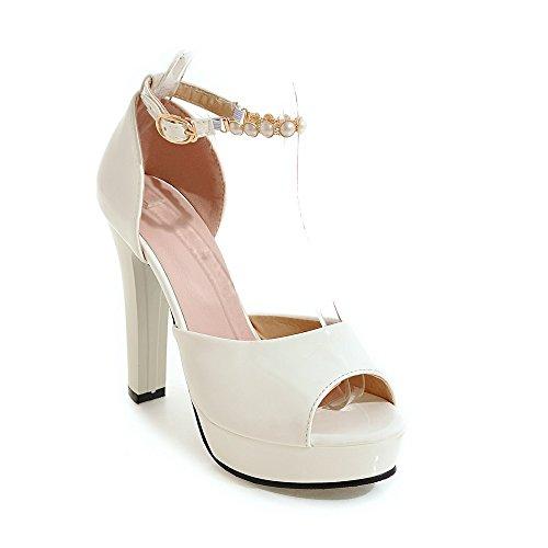 Alti Sandalo bianco amp;X del Le QIN Peep Blocco Toe Donne Tacchi dYz4vqwv