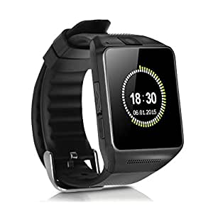Luxsure Bluetooth Watch 1.54 Inch Smart Watch Phone Support SIM Card Smartwatch with Camera WristWatch for iPhone Samsung HTC LG Android Smartphones(Gun Dark)