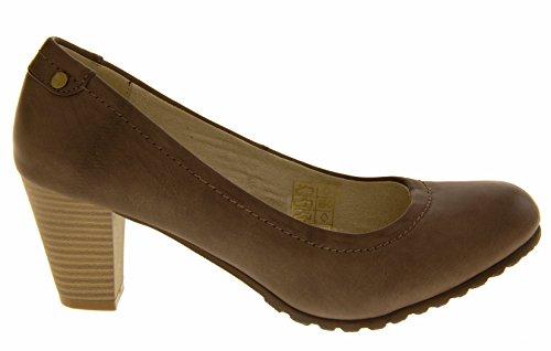 Coconel Mujer Imitación de Cuero Zapatos Formales Bloque de Tacón Gris