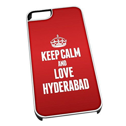 Bianco cover per iPhone 5/5S 2340 Red Keep Calm and Love Hyderabad
