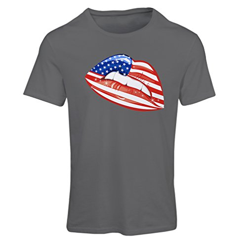 lepni.me T Shirts For Women Patriotic USA Lips- American Flag Clothing (Small Graphite Multi - Outlet Tanger Shops