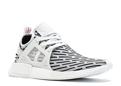 NMD XR1 Primeknit Mens in White/Red by Adidas, 9.5