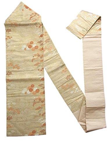 暴露ふざけた圧倒的リサイクル 九寸 名古屋帯 流水に秋草文様 正絹