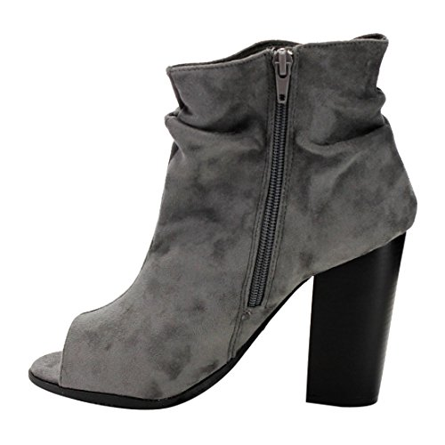 BELLA MARIE AE68 Womens Side Zipper Slouchy Peep Toe Block Heel Ankle Booties Ankle Bootie
