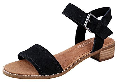 Toms 10011694: Women's Camilia Black Suede Heeled Sandals (8 B(M) US - Black Fashion Sandals