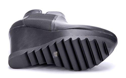 Schuhtempel24 Damen Schuhe Keilstiefeletten Stiefel Stiefeletten Boots Keilabsatz 12 cm High Heels Schwarz
