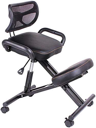 silla ergonómica de rodillas, taburete ortopédico con estructura de piel sintética para la postura, ajustable, silla de rodillas para promover una buena postura, 330 lb, color negro