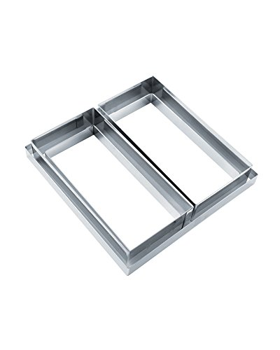 Martellato Modular Stainless Steel Square & Rectangular Cake Rings, Total 5 Pieces by Martellato