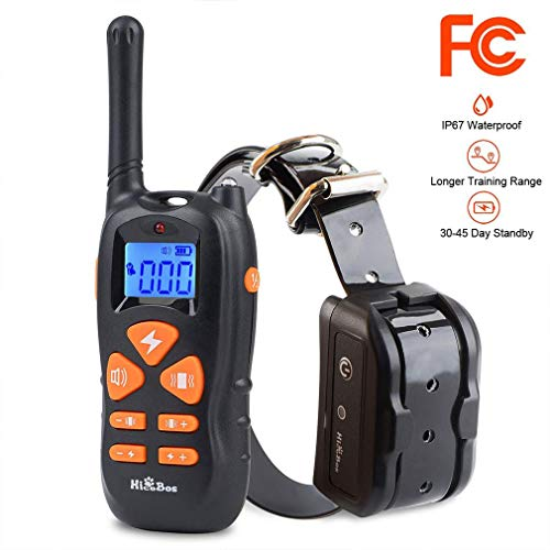 Dog Training Collar - Rechargeable Remote Shock Collar 1500FT IP67 Waterproof, 3 Effective Mode Beep, Vibration & Shock Device, Pet Safe 100 Level, 10s Auto Protection and 30 Day Standby (All Button) ()