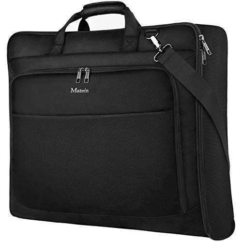 (Garment Bag for Travel, Large Carry on Garment Bags with Strap for Business, Matein Waterproof Hanging Suit Luggage Bag for Men Women, Wrinkle Free Suitcase Cover for Shirts Dresses Coats, Black)